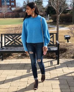 Shop the look from styleofshah on ShopStyle Stella Dot, Blue Sweaters, Tassel Earrings, Ripped Jeans, Leather Boots, Balloon, Cozy, Clothing, Sleeves