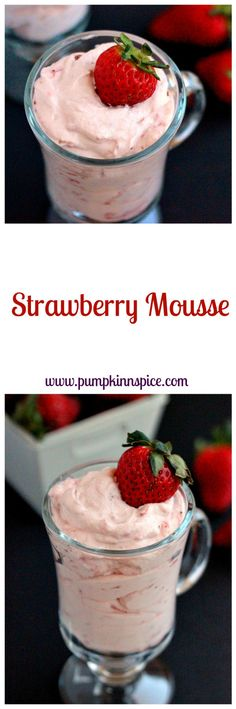 This Strawberry Mousse is smooth, creamy, and made with just four ingredients!