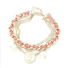 Gold Plated Alloy Coin Pendant Bracelet – USD $ 4.09