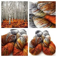 Hand dyed yarn - Such a gorgeous colour combination! I love the subtle greys mixed with the stark orange browns. Crochet Yarn, Knitting Yarn, Knitting Patterns, Spinning Yarn, Yarn Stash, Hand Dyed Yarn, Yarn Colors, Yarn Crafts, Diy Crafts