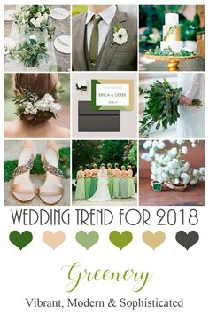 Inspired by Pantone's newest color, Greenery. Watch for this color to pop out in weddings for 2018 and 2019! Perfect for your Spring and Summer wedding.