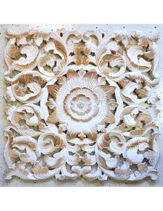 Teak Holz Blüten Wandbild Relief 60cm weiß dick