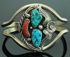 Navajo Sterling Silver Turquoise Coral Bracelet
