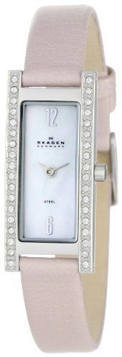 Skagen Women's 266SSLLV1 Swarovski Crystal Pale Pink Leather Watch Skagen. $58.49. Water-resistant to 99 feet (30 M). White mother of pearl dial with silver-tone hands and Arabic numerals at 12:00 and 6:00; hypo-allergenic nickel safe. Swarovski crystals set on bezel. Durable mineral crystal; polished stainless steel case; pale pink leather strap. Precise Japanese-quartz movement. Save 55% Off!