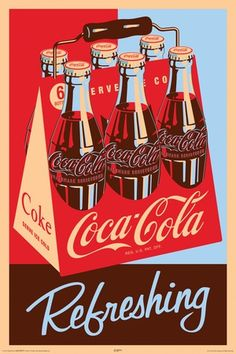 Coca Cola Refreshing 6 Pack Poster- like the handle and the packing for the bottles, idea Coca Cola Poster, Coca Cola Ad, Always Coca Cola, World Of Coca Cola, Pepsi, Coca Cola Vintage, Barber Shop Vintage, Vintage Bar, Vintage Signs