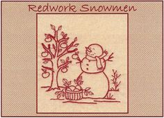 Redwork Snowmen - September - Redwork Hand Embroidery Pattern by Beth Ritter - Instant Digital Download on Etsy, $2.00