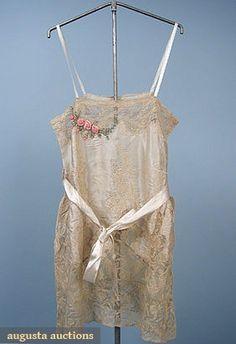 Augusta Auctions:satin & lace chemise, 1920s  #vintage #fashion