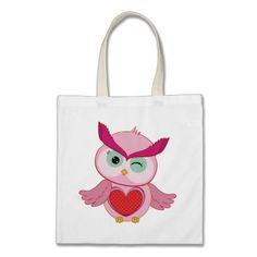 Retro Folk Art Owl with Heart Canvas Bags
