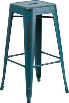 30 High Backless Distressed Kelly Blue Teal Metal Indoor Outdoor