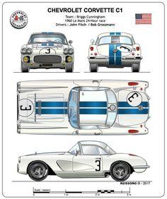 Chevy, Chevrolet Corvette C1, Old Vintage Cars, Vintage Race Car, Us Cars, Sport Cars, Le Mans, Alpine Renault, Car Prints