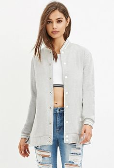 White,gray,light slate gray FOREVER21  bomber jacket  for woman STYLE This heathered bomber jacket by Civil Regimea,, features %22Regime Girl%22 printed on the front and back with a snap-buttoned front, front welt pockets, and varsity stripes on its collar and cuffs. .Long sleeves, fully linedMidweight, woven100% cottonHand wash coldMade in ChinaFIT Measured from Small28.5%22 full length, 42%22 chest, 42%22 waist, 26%22 sleeve length #chaquetabomber #bómber #bombers