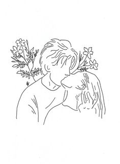 poeticamente flor — couples in love. // for line drawings requests. Outline Art, Outline Drawings, Art Drawings Sketches, Love Drawings, Hipster Drawings, Minimal Art, Couple Tattoos Love, Minimalist Drawing, Couple Drawings