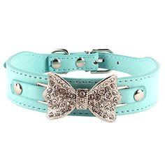 Sunsen Bling Crystal Dog Bow Leather Pet Adjustable Collar