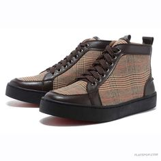 Christian Louboutin Apricot Grid Cloth High Upper Mens Sneakers