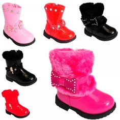 GIRLS-TODDLERS-CHILDRENS-KIDS-BLACK-RED-PINK-FAUX-FUR-LEATHER-WINTER-BOOTS-SHOES