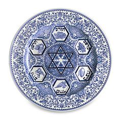 Our Favorite Seder Plates, Just in Time For Passover: Made from earthenware, this classic blue and white plate ($115) from Spode will never go out of style.