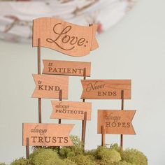 Celebrate love's best attributes with engraved wooden wedding cake toppers. #etsyweddings