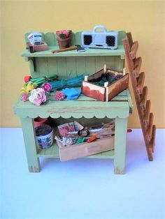 Potting Bench for a Doll's House Garden  Fully Loaded.