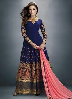 Blue latest abaya style Indian anarkali frock in georgette