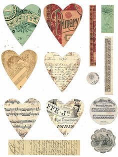 Vintage hearts, by astrid.maclean, via Flickr ~ ♥free♥ printable