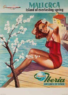 Mallorca Island of Everlasting Spring Original Iberia Air Lines of Spain Travel Poster Travel Ads, Airline Travel, Travel Photos, Vintage Advertisements, Vintage Ads, Vintage Airline, Vintage Party, Retro Ads, Mallorca Island