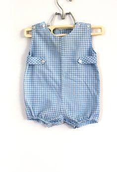Vintage Baby Boy Blue Gingham