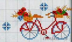 Pretty Cute Bike Cross Stitch or Perler Bead Pattern Counted Cross Stitch Patterns, Cross Stitch Charts, Cross Stitch Designs, Cross Stitch Embroidery, Small Cross Stitch, Needlepoint Designs, Crochet Cross, Le Point, Cross Stitching