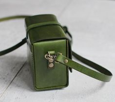 Classy Handstitched green leather camera case