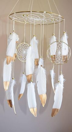 Woodland Gold Nursery Decor, Boho Feather Baby Mobile, Baby Boy Girl Mobile, Dreamcatcher Nursery Decor, Tribal Native American Style