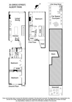 """25 Greig Street, Albert Park, Vic 3206 - floorplan - not sure it would be worth the fixed cost of """"going up"""" for only a single bedroom + ensuite."""