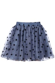 """Dual-tone """"Polka Dots"""" Blue Skirt. Description Blue skirt, featuring an elastic waist, contrasting polka dots print throughout, dual-tone multi-layered styling, a dacron lining, pleated body. Fabric Dacron and Polyester. Washing Cool hand wash. #Romwe"""