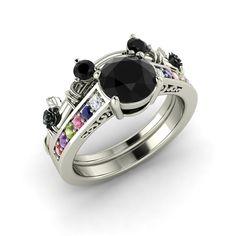 Disney inspired black diamond bridal set (engagement ring & wedding band) in 14K White Gold - Mickey Mouse
