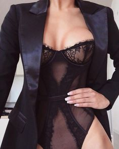 Another look at this sleek and sexy fit! Wearing the 'Raven Blazer' paired with the 'Vanessa' Bodysuit. Classy Lingerie, Lingerie Fine, Lingerie Outfits, Pretty Lingerie, Beautiful Lingerie, Lingerie Set, Sexy Outfits, Women Lingerie, Fashion Outfits
