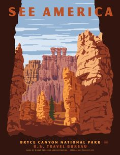 Bryce Canyon National Park: US Travel Posters by Steven Thomas for Print Collection in art  Category