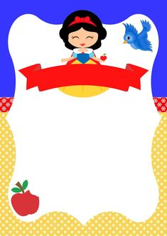 3rd Birthday Parties, Happy Birthday, Snow White Characters, Snow White Cake, Snow White Birthday, School Frame, Happy Eid, Frame Clipart, Digital Invitations