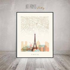 Paris map skyline print Paris poster France cityscape