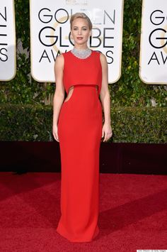 Jennifer Lawrence in Dior dress and Chopard choker necklace at the 2016 Golden Globe Awards