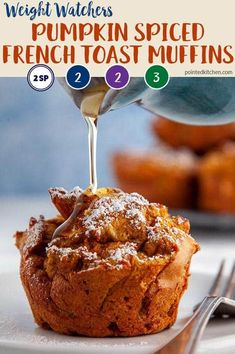 These easy to make Pumpkin Spiced French Toast Muffins are 2 SmartPoints (Blue Weight Watcher Desserts, Weight Watcher Muffins, Weight Watchers Pumpkin, Weight Watchers Breakfast, Weight Watchers Program, Weight Watchers Meal Plans, Weight Watchers Diet, French Toast Muffins, Pumpkin French Toast