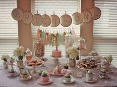 Glittery, Girly Tea Party for 1st Birthday Party - #partytable