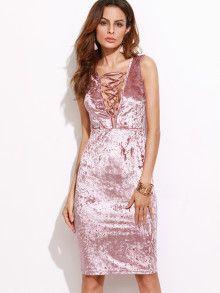 b982e81faa0c Samt Kleid Schnüren Stenkargen -rosa Pelo Rosa