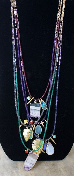 Emerald Green Onyx Charmed Necklace by shopkei on Etsy, $82.00