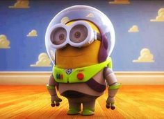 Minion acting as buzz light year from toy story :)