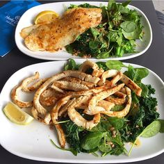 Hump day at @hunkydoryfish  Char-grilled calamari w/ kale broccoli spinach and spelt salad.  Always nutritious  Always delicious  Snapchat: Ellie.laffner - your lean clean vegetable machine xx by healthycleantimes