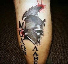 Back Of Leg Calf Molon Labe Watercolor Mens Tattoo Design Ideas