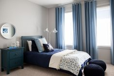 Beach Boy's Bedroom » Natalie Fuglestveit Interior Design.    Beautiful Kravet Jeffrey Alan Marks in Waterwave River 516.