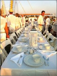 Dinner en Blanc was held at the Gloucester Maritime Museum last night! Heather Atwood covered the event beautifully on her log! This s the eiffel table!