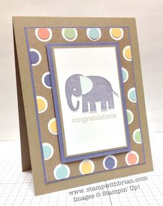 Zoo Babies, Stampin' Up!, Brian King, Stamp Sets:  Zoo Babies  Papers:  Crumb Cake, Wisteria Wonder, Whisper White, Season of Style Designer Series Paper, Soft Sky, Pistachio Pudding, Crisp Cantaloupe, So Saffron  Inks: Wysteria Wonder, Crumb Cake  Accessories:  Itty Bitty Shapes Punch Pack, Stampin' Dimensionals   http://stampwithbrian.com/2013/11/24/baby-elephant-for-baby/