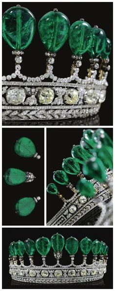 Multiple views of Magnificent and rare antique emerald and diamond tiara, circa 1900 | Previously owned by Princess Katharina Henckel Von Donnersmarck | Via Diamonds in the Library.