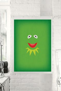 "The Muppet Show ""Kermit the Frog"" Minimalist Poster - Retro Style Print Home Wall Muppet Babies Nursery Art Invitation"