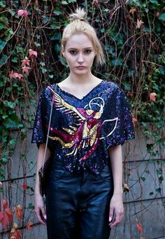 Vintage sequin peacock top £30.00